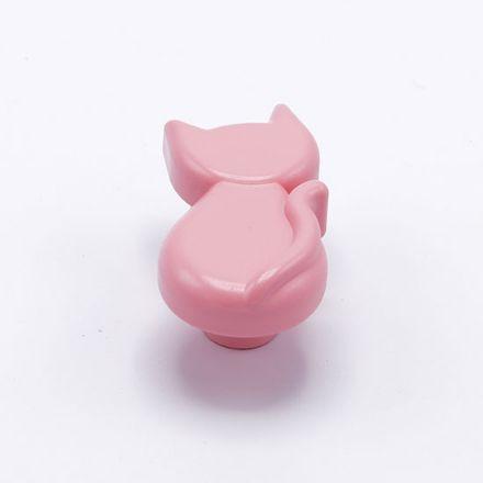 pomolo gatto con vite  finitura goffratto rosa    per cassetti, comodini, armadi