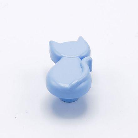 pomolo gatto con vite finitura  goffratto azzurro    per cassetti, comodini, armadi