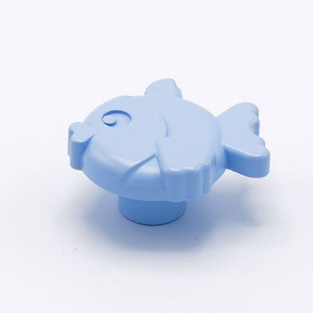 pomolo pesce con vite  finitura goffratto azzurro    per cassetti, comodini, armadi