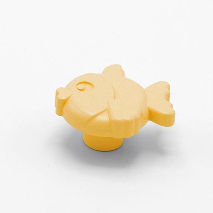 pomolo pesce con vite  finitura goffratto giallo    per cassetti, comodini, armadi