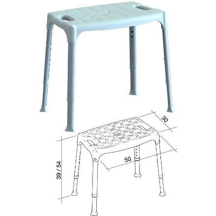 sedia da doccia regolabile bianco-50x30x39-54cm