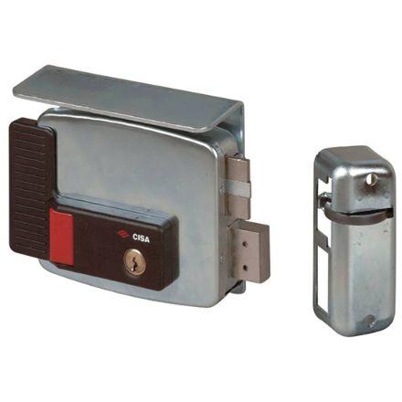 Elettroserratura Cisa  con pulsante e fermo a giorno da applicare a cilindro mm 70 sinistra