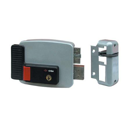 Elettroserratura Cisa pulsante e cilindro interno da applicare a cilindro mm 70 destra