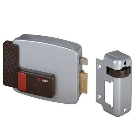 Elettroserratura Cisa pulsante interno da applicare a cilindro mm 70 sinistra