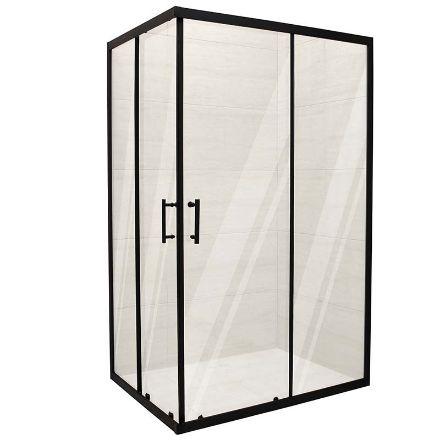 Box doccia black rettangolare  cm 80x120x190 profilo nero