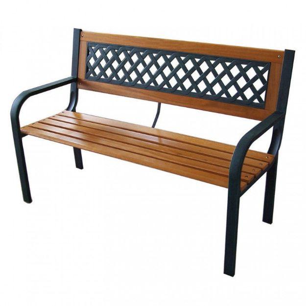Immagine di Panchina 2 posti in legno e struttura in acciaio